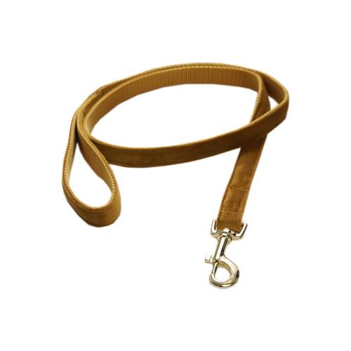 Kentucky dogwear Velvet collection dog lead - Mustard