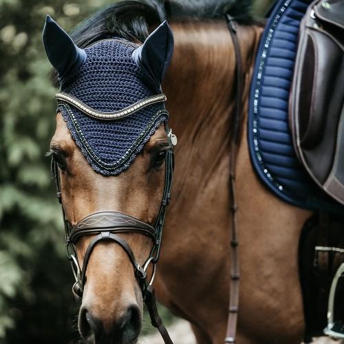 Kentucky horsewear Soundless Fly Veil Wellington Stones and Pearl - Navy
