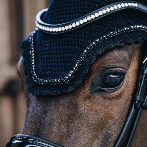 Kentucky horsewear Fly Veil Wellington Stones and Pearl - Black