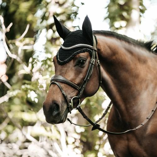 Kentucky horsewear Soundless Fly Veil Wellington Stones and Pearl - Black
