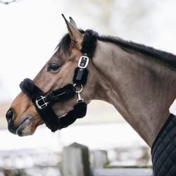 Kentucky horsewear sheepskin shipping halter - Black