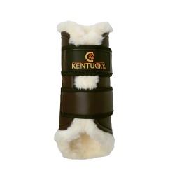 Kentucky Brown artificial sheepskin lined brushing boots - Hinds