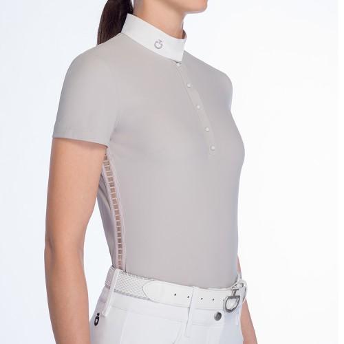 Cavalleria Toscana ladies sheer rib knit grey Competiton polo shirt