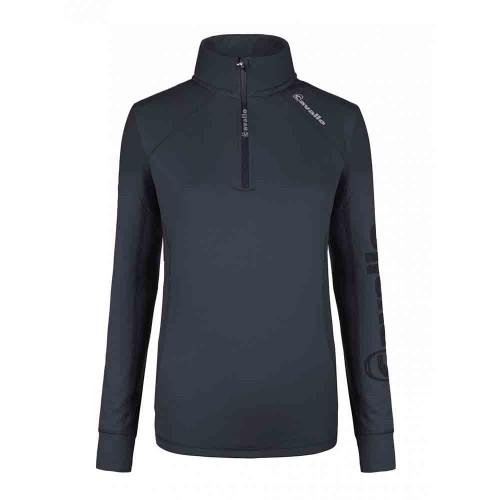 Cavallo ladies Dark Blue Orfea fleece lined half zip top