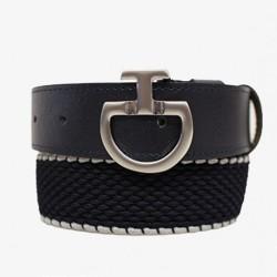 Cavalleria Toscana Elasticated contrast edge belt with CT logo buckle -Navy