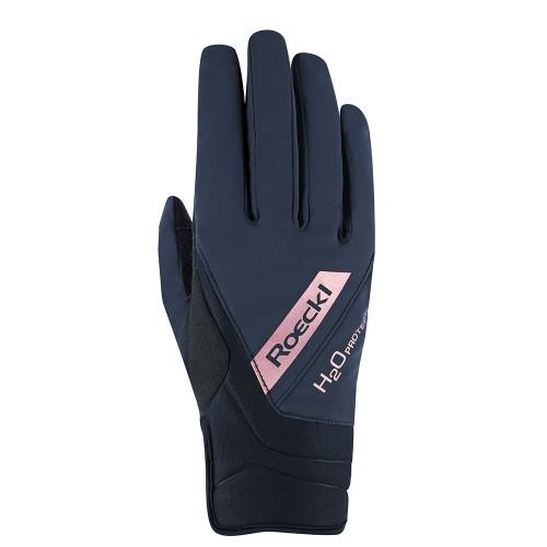 Roeckl Ladies Waregem winter waterproof gloves - Black/rosegold