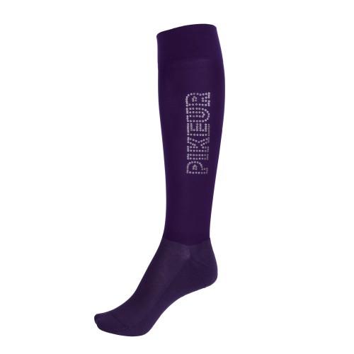 Pikeur Knee high tube socks sequin logo - Grape